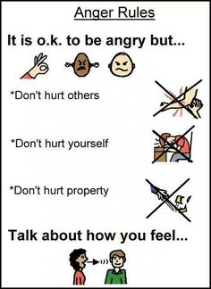 The Anger rules chart is effective because it lets students know how to manage their emotions when they are upset. I like it because it normalizes anger while teaching appropriate responses and actions. Behaviour Management, Classroom Management, Anger Management Activities For Kids, Stress Management, Toddler Activities, Social Activities, Family Activities, Coping Skills, Social Skills