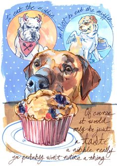 To eat the muffin... or NOT to eat the muffin...  Of course it would only be just a taste, a nibble really, you probably won't notice a thing...
