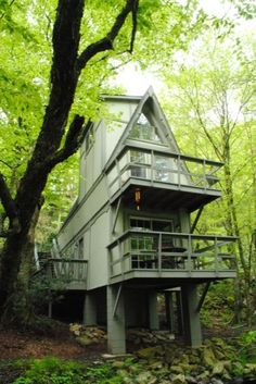 Cool A-frame  cabin in NC / The Green Life: Maybe we need one of these on the back of the VA property!