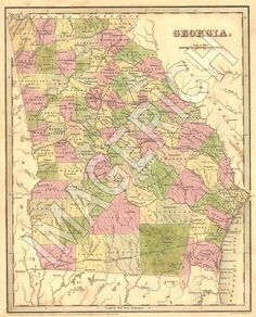 Vintage State Map - Georgia 1839 (etsy)