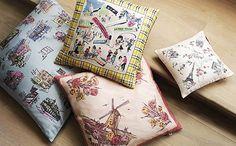 Silk Memento Cushions - Europe by re-foundobjects.com