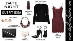 Outfit Idea: Date Night!  Visit www.thefloralfedora.com for more fashionable outfit ideas.  #thefloralfedora #fashion #fashion2014 #style #beauty #makeup #fall #fallfashion #falloutfits  #outfit #ootd #outfit #outfitideas #outfitoftheday #clothes #beautiful #cute #dress #burgundydress #lacedress #peplumjacket #nails #fallnailpolish #heels #jewelry