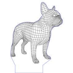 French bulldog 3d illusion vector file for CNC - 3bee-studio
