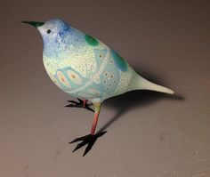 Blue _ Black Striped Abstract Bird