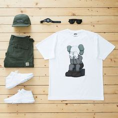 WEBSTA @ jaybeezishangintough - today's #outfitgrid#KAWS x #Uniqlo tee…
