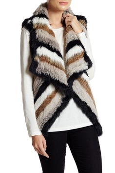 Genuine Rabbit Fur Knit Stripped Vest