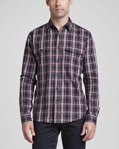 Theory Plaid Two-Pocket Sport Shirt & Basic 5-Pocket Stretch Twill Pants - Neiman Marcus