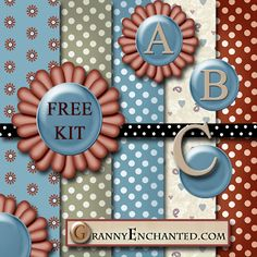 """GRANNY ENCHANTED'S BLOG: """"Terra"""" Free Digital Scrapbook Kit with Papers, Alphabet, and Embellishments"""