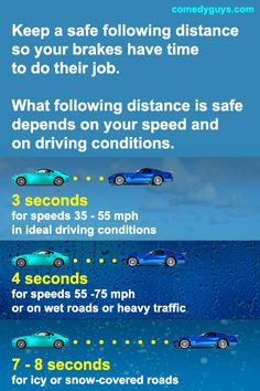 Not keeping a safe following distance causes many collisions. And it makes you one of those annoying drivers that everyone else hates. Drivers Permit Test, Drivers Ed, Driving Tips, How To Become, How To Make, Everyone Else, Have Time, Cool Things To Make