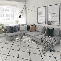 Gray Living Rooms Ideas - Gray being a very versatile shade has the capacity to work well with a variety […] Grey Living Room Sets, My Living Room, Living Room Interior, Living Room Decor, Söderhamn Sofa, Sectional Sofas, Couch, Rooms Ideas, Minimalist Home Decor