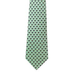 Repeating Lion Head Silk Necktie - Green