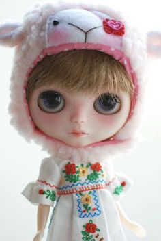 fur hat for blythe   Blythe animal hat with fur chin strap - pale pink pirate sheep More