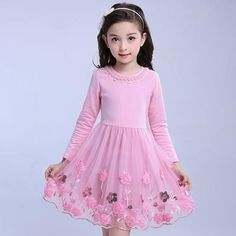 Girls Dress 2019 Autumn Winter Princess Dress Girls Floral Long Sleeve Lace Kids Dresses For Girls Costume 4 6 8 10 12 13 Years Baby Girl Party Dresses, Toddler Girl Dresses, Toddler Girl Parties, Spring Outfits, Girl Outfits, Baby Girl Baptism, Girls Dresses Online, Long Sleeve Floral Dress, Lace Dress