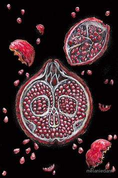 Bitter sweet skull pomegranate art by melanie dann Pomegranate Tattoo, Pomegranate Art, Persephone Pomegranate, Thing 1, Pomegranates, Divine Feminine, Bitter, Large Prints, Tattoo Drawings