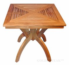 "Teak Pedestal Dining Table 31"" Sq - Root Design"