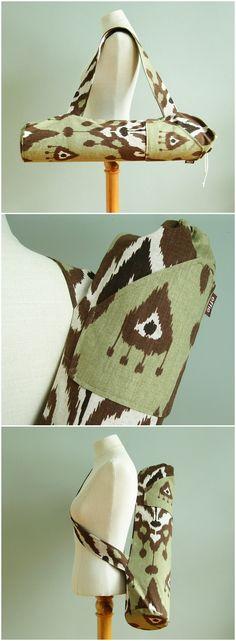 Boho Yoga Mat Bag for Woman. Brown Green Ikat Yoga Mat Carrier. Yoga Bag. Yoga Gift for Friend. Yoga Mat Bag with Pocket. Yoga Mat Holder