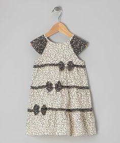 Another great find on #zulily! Ecru & Black Bow Dress - Infant by P'tite Môm #zulilyfinds
