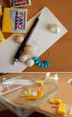 DIY: Fimo snails - Manulidades: caracoles de 'fimo'