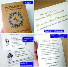 Convites Casamento Criativos Passaporte | R$28 Cada 10 Unid - R$ 28,00