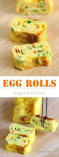 Egg Rolls (Tamagoyaki) Improve your cooking skills with this delicious Asian egg. - Egg Rolls (Tamagoyaki) Improve your cooking skills with this delicious Asian egg rolls. Korean Egg Roll, Egg Roll Recipes, Egg Rolls, Side Dishes Easy, Korean Side Dishes, Frittata, Omelette, Healthy Snacks, Healthy Recipes With Eggs