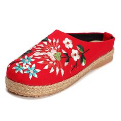 5fcb8100e53ea Women Embroidery Flats Flax Casual Floral Slipper Worldwide delivery.  Original best quality product for 70