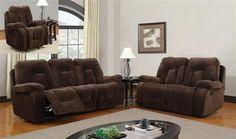 Champion Chocolate Wood Leather Living Room Set