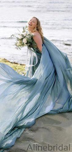 Flowy Chiffon Rustic Wedding Dresses Beach Wedding Gown, Prom Dresses PD1043 #promdresses #longpromdresses #longpromdress #promdress #eveningdress #partydresses #fashiondresses #elegantpromdresses #modestpromdresses Bridal Gowns, Wedding Gowns, Wedding Dressses, Beach Dresses, Prom Dresses, Rustic Wedding Dresses, Dream Dress, Dress Making, Dream Wedding