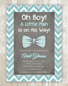 Oh Boy Little man Light Tiffany blue gray white bow tie baby boy chevron  printable baby shower invitation PDF FILE on Etsy, $18.50