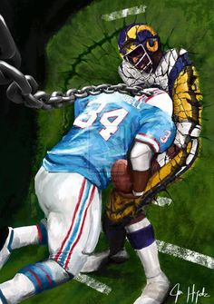 First football painting I did. Earl Campbell as a wrecking ball Nfl Football Players, Football Art, Football Memes, Vintage Football, Football Season, Houston Oilers, Houston Nfl, Football Paintings, Earl Campbell