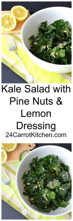 Love this salad with superfood Kale! Click to receive the recipe for this Kale Salad with Pine Nuts and Lemon Dressing! |grain free, gluten free, dairy free, salad, kale, paleo|