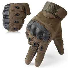 JIUSY Military Rubber Hard Knuckle Tactical Gloves Full Finger Airsoft Paintball Outdoor Army Gear Sports Cycling Motorcycle Riding Shooting Hunting Size Large Green