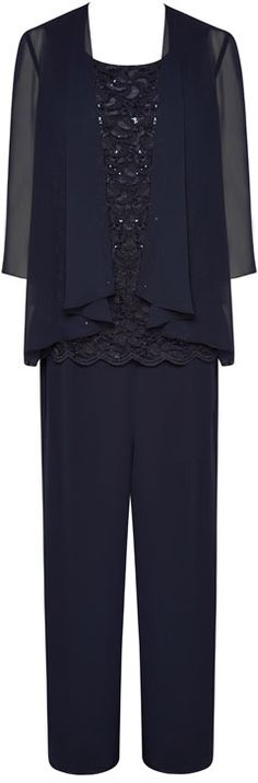 NONI B 3 Piece Pant Suit With Lace Cami $359.95 AUD  3 piece pant suit with round neck lace and sequin detail, chiffon shrug and elastic waist pant jkt 100% polyester, cami 58% nylon 40% polyester 2% elastane polyester lining, pant 100% polyester, polyester lining  Item Code: 046667