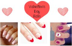 """Valentine's Day Nails You know what makes any Valentine's Day outfit so much cuter? An adorable mani. I feel so much more """"put together"""" when my nails are done. Here are a few Valentine's Day DIY manis that are sure to make any Vday ensemble pop!  """"Heart tipped"""": In this mani all you need is red and clear nail polish....  Read More at http://www.chelseacrockett.com/wp/beautyschool/valentines-day-nails/.  Tags: #NailArt, #Nails, #ValentineSDay, #ValentineSDay2"""