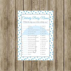 Instant Download Celebrity Baby Name Game Blue by DesignsByJessieV