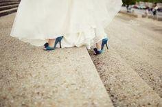something blue- wedding dress and shoes