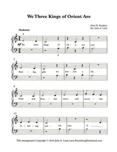photo relating to We Three Kings Lyrics Printable named 76 Least difficult Xmas Piano Sheet Tunes printable for all ages