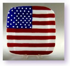 American Flag Plate by Barbara Otterson available from Arttowngifts.com. Each piece of glass is hand cut and fused together in a kiln.