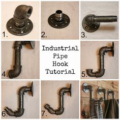 How To Make Industrial Pipe Hooks - My Sweet Savannah - Home Projects We Love Industrial House, Rustic Industrial, Industrial Shelving, Industrial Bathroom, Industrial Coat Rack, Industrial Restaurant, Industrial Apartment, Industrial Office, Industrial Design