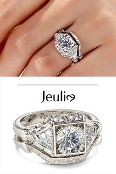Pretty Wedding Rings, Wedding Rings Vintage, Vintage Engagement Rings, Art Deco Jewelry, Fine Jewelry, Jewelry Design, Antique Rings, Beautiful Rings, Ring Designs