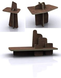 Plywood flexible furniture concept. This simple high-grade plywood furniture series by Parisian designer Paul Bellila is designed to be fastener-free, requiring no nails or glue to hold each work together.