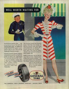 1943 General Tire Ad Beautiful Blonde Woman Girl Waiting For Marine Soldier 4307 Print Advertising, Advertising Signs, Frederick Smith, General Tire, Once A Marine, Saturday Evening Post, Old Advertisements, I Gen, Red Sonja