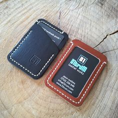 A couple of handmade, leather ID Speedwallets