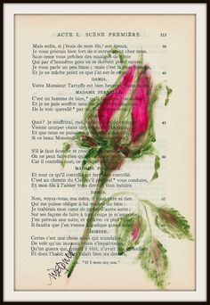 Red Rose Bud original painting on vintage french book of plays from 1928 original painting on a sheet from book.  via Etsy.