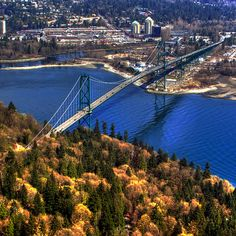 Lions Gate Bridge in Vancouver, BC Canada Vancouver Vacation, Vancouver Hotels, North Vancouver, Vancouver Island, Aerial Photography, Landscape Photography, West Coast Canada, Lions Gate, Places