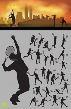 Tennis Silhouettes by meriang This is nice and high detail vector. In this files include AI and EPS versions. You can open it with Adobe Illustrator CS and othe