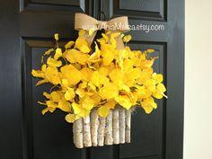 fall wreaths autumn wreath yellow wreath front door decor handmade wreaths home and living Thanksgiving front door wreaths outdoor aspen tree  This