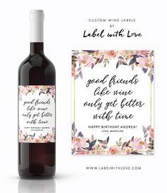 birthday wine label custom wine label personalized wine label