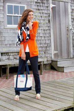 jeans, white tee, long orange cardigan, black and white scarf Preppy Mode, Preppy Style, Style Me, Orange Cardigan Outfit, Scarf Cardigan, Cardigan Outfits, Fall Outfits, Cute Outfits, Outfits