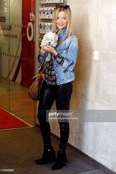 Laura Whitmore seen arriving at the BBC Radio 1 Studios on April 23, 2015 in London, England.
