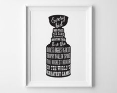 Stanley Cup Hockey Art, Hockey Boys Room Decor, Black and White Boys Bedroom Art Sports Decor, Boys Wall Art Teen Room Decor, Christmas Gift